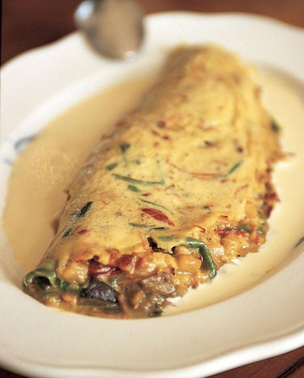 Omelette moelleuse aux petits légumes