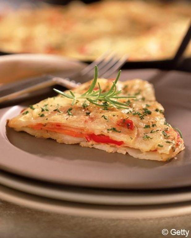 Pains pita à l'omelette, poivron et chorizo croustillant