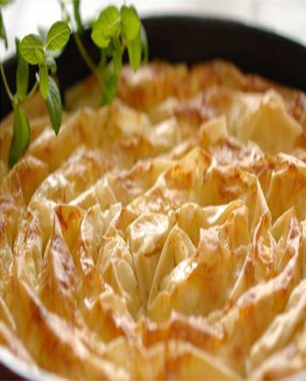 Pastilla aux pêches et huile de pistache
