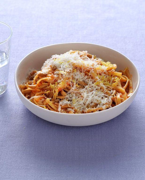 Pâtes tomate, citron et parmesan