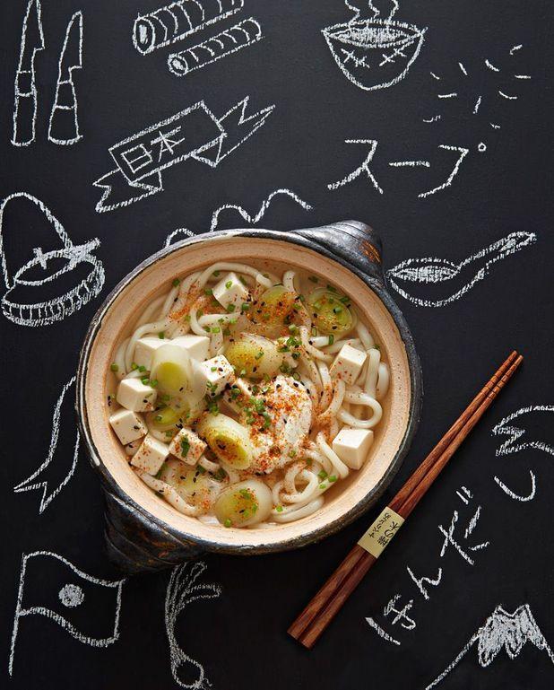 Pâtes udon au tofu et poireaux