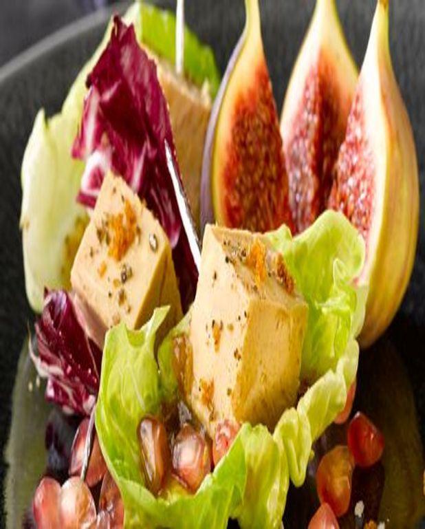 Petites bouchées de Foie Gras en coeur de salade