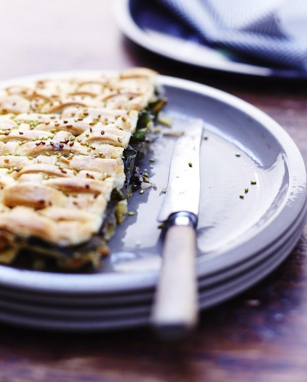 Pie saumon, blettes et sésame wasabi