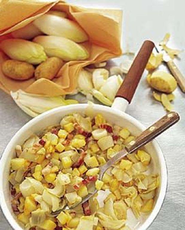 Poêlée d'endives et de pommes de terre