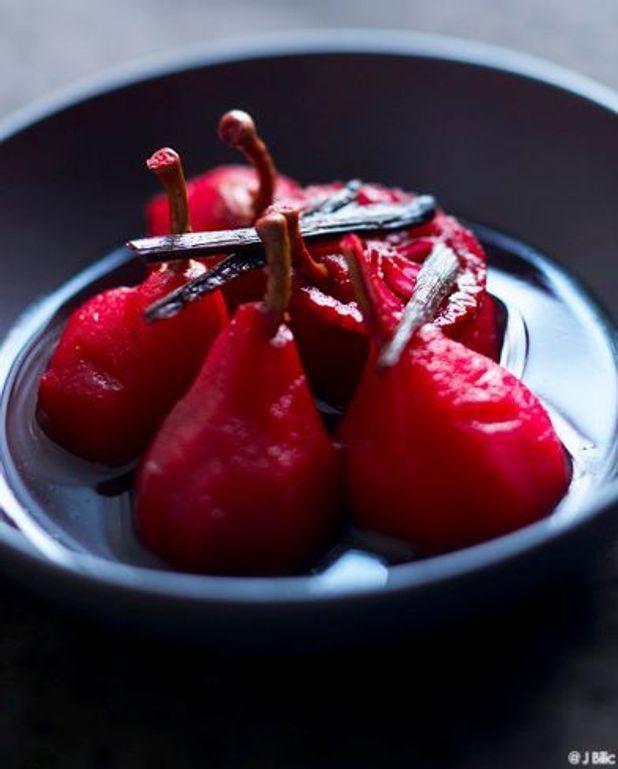 Poires, jus de cranberry