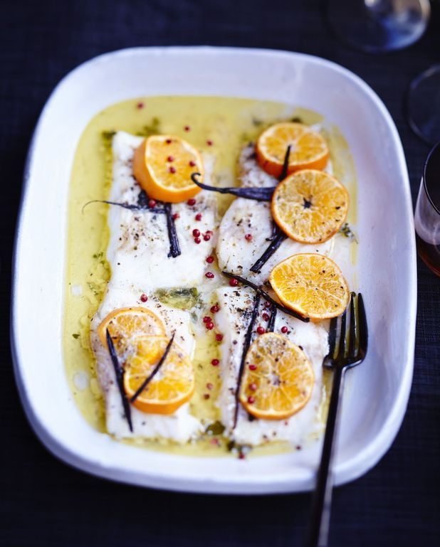 Poisson rôti aux agrumes et beurre vanillé