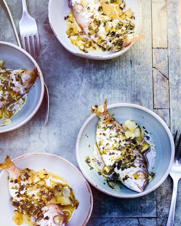 Poissons, pesto fenouil et cornichons