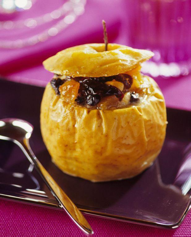 Pommes au four farcies lard et fruits secs