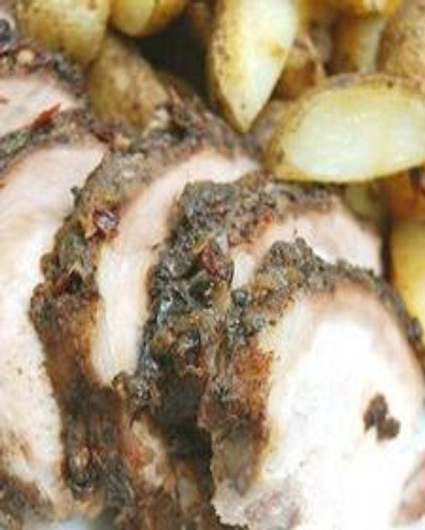 Porc à la mode antillaise et pommes de terre pimentées en papillote