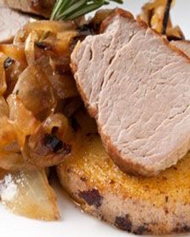 Porc aux oignons et polenta
