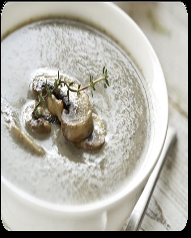 Potage aux champignons et aux croutons