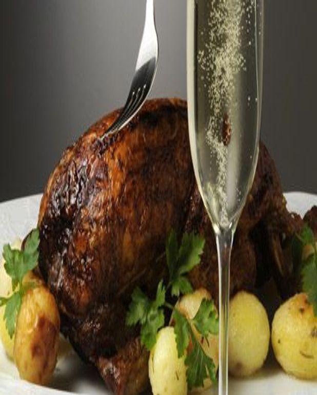 Poularde de Bresse au champagne et aux morilles