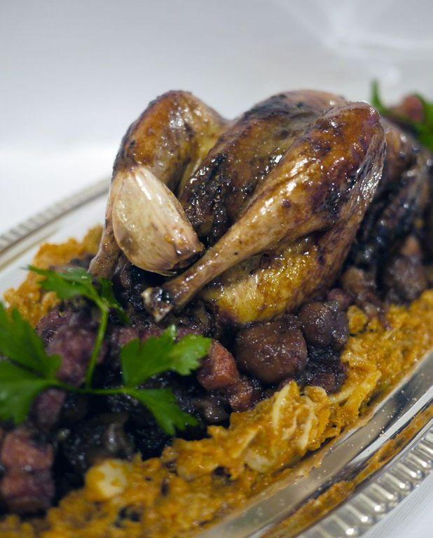 Poule faisane au chou et aux marrons en plat de fête de la chef Laëtitia Rouabah