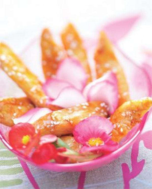 Poulet au sésame, rose et bégonia