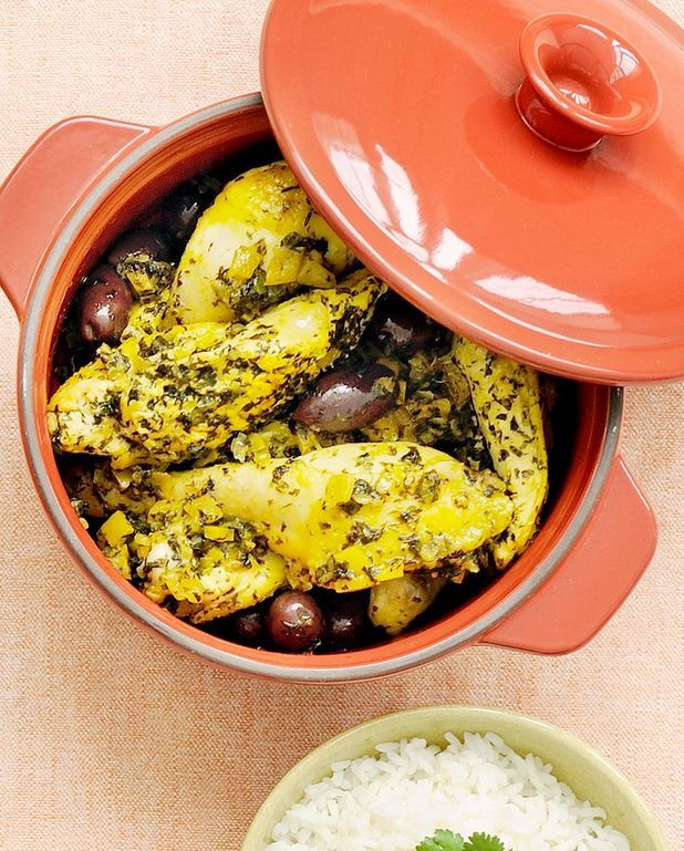 Poulet citron confit et olives en cocotte