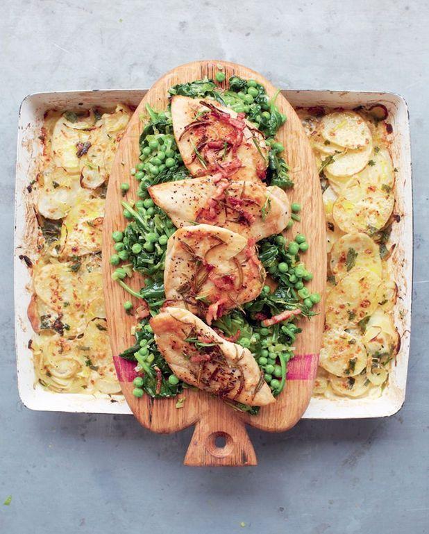 Poulet doré, légumes braisés et gratin de pommes de terre