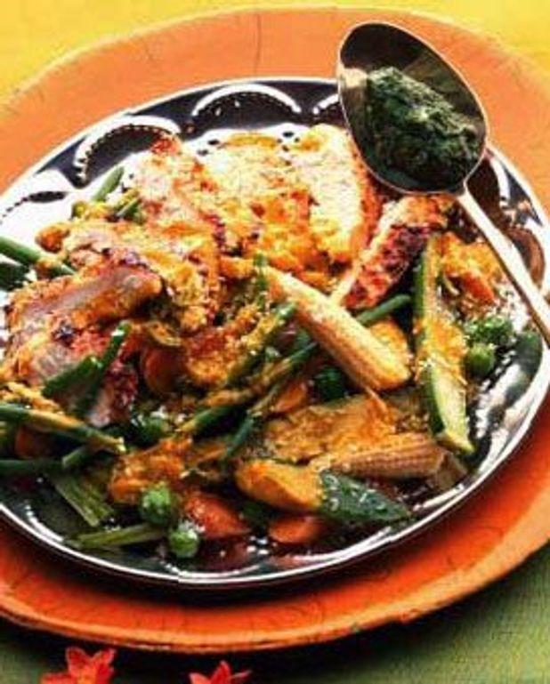 Poulet mariné, légumes coco