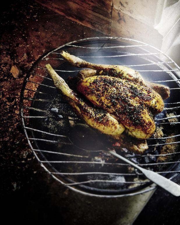 Poulet rôti au feu de bois