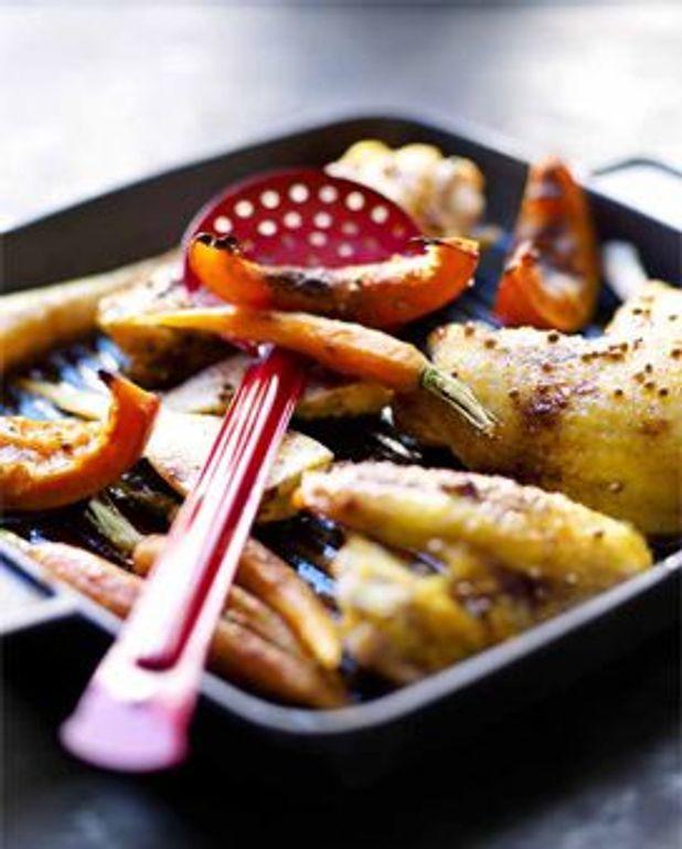 Poulet rôti aux épices et légumes racines