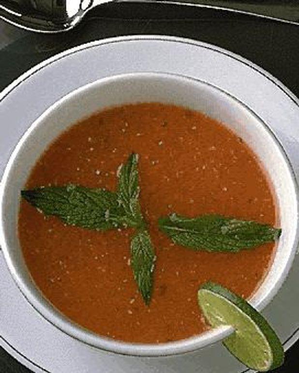 Purée de tomates à la menthe