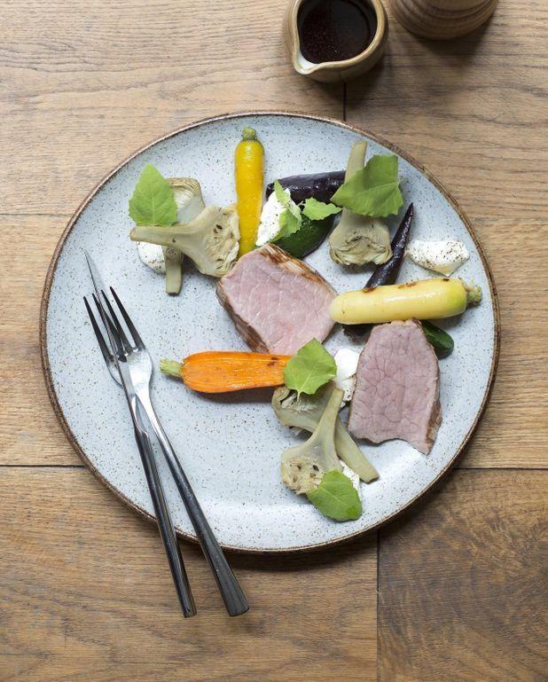 Quasi de veau, faisselle et légumes