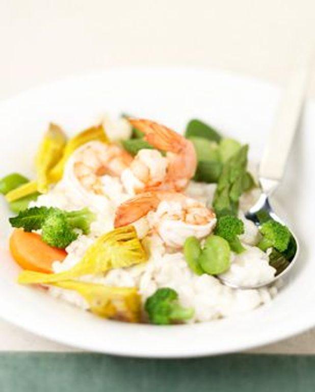 Risotto de légumes aux crevettes