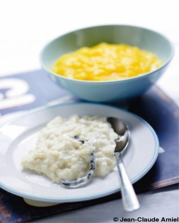 Riz au lait, coulis de mangue huiles essentielles de mandarine et citron