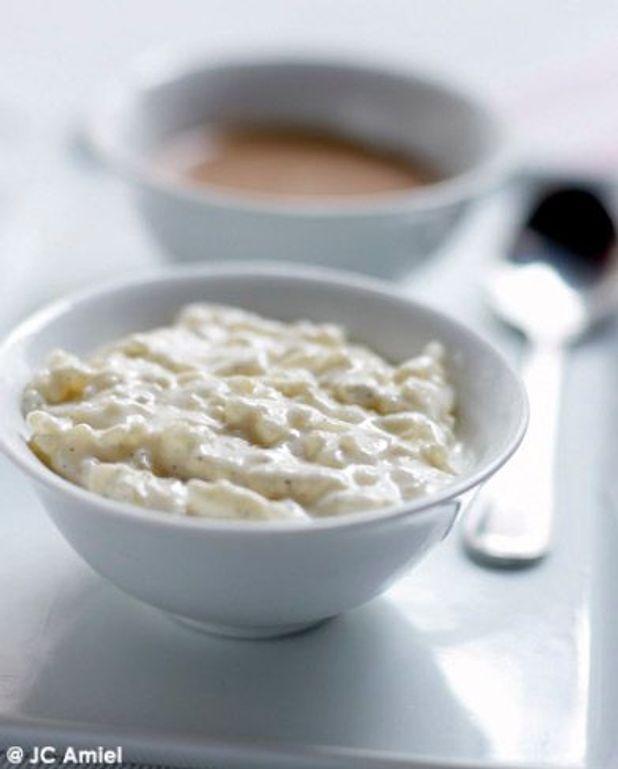 Riz cuit au lait à la vanille, caramel laitier