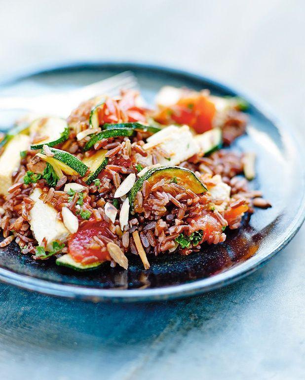 Riz rouge sauté au tofu et légumes