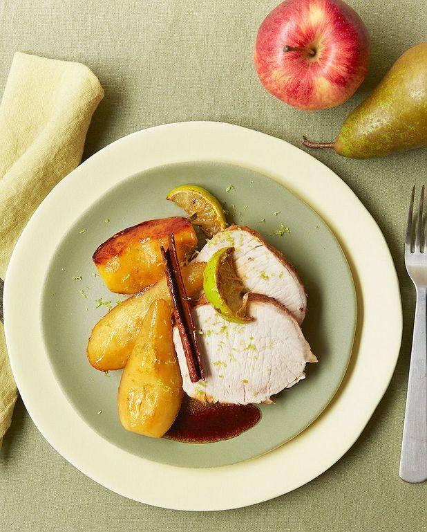 Rôti de porc, pommes et poires