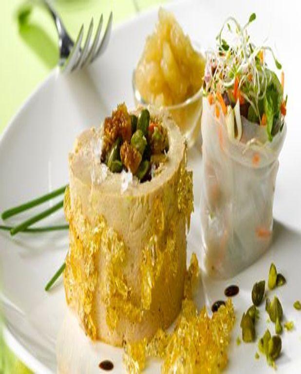Roulé de foie gras et petits légumes