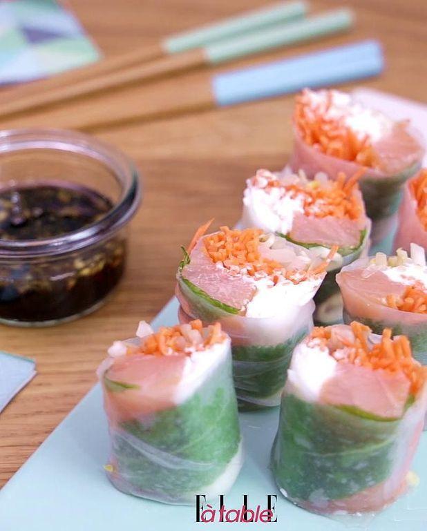 Rouleaux de printemps saumon chèvre