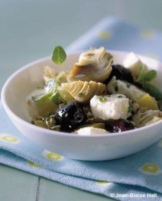 Salade artichauts, feta, olives, citron confit