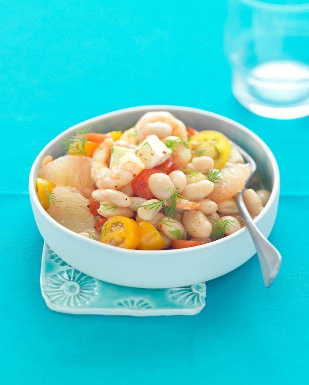 Salade bien-être aux haricots, crevettes, pamplemousse et épices douces