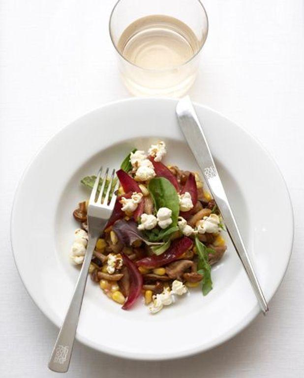 Salade champignons, maïs, pop-corn