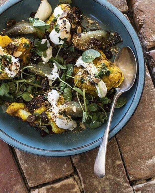 Salade de chou-fleur, dukkah, raisins