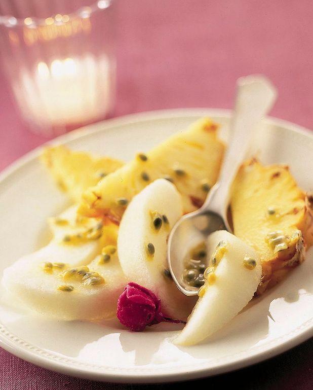 Salade de fruits exotiques à l'eau de rose