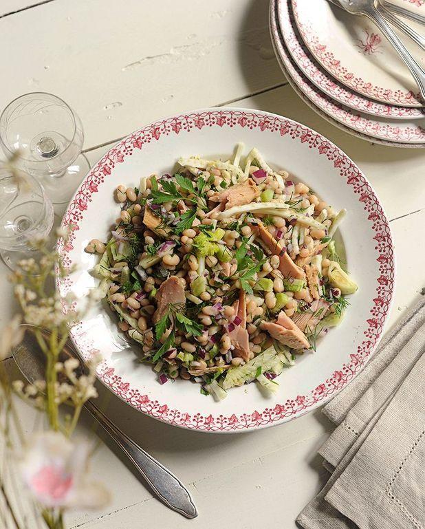 Salade de haricots coco, thon et fenouil