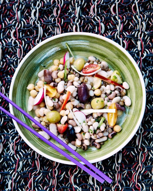 Salade de légumes secs, émulsion de jus de cuisson