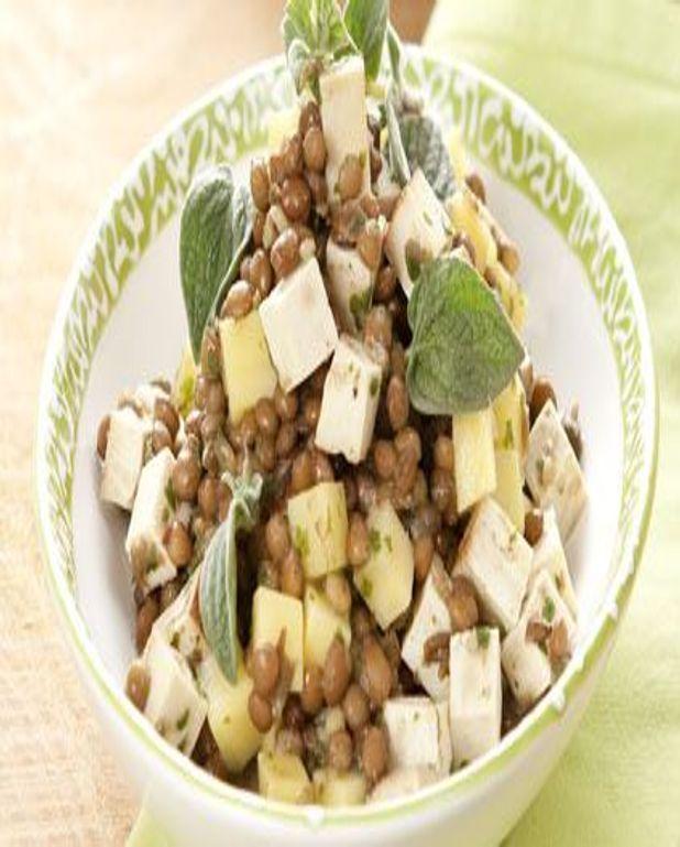 Salade de lentilles aux pommes et tofu