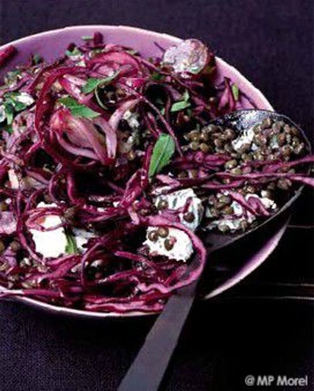 Salade de lentilles vertes et chou rouge aux raisins