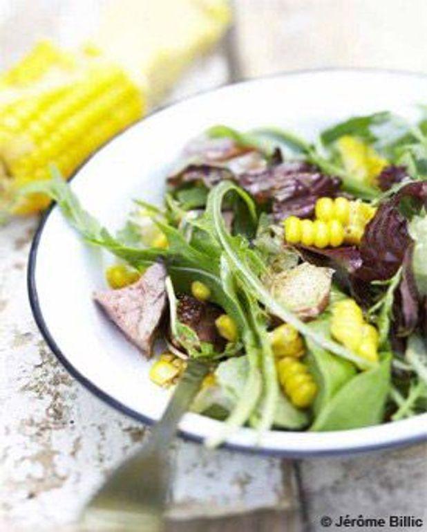 Salade de maïs et canette rôtie