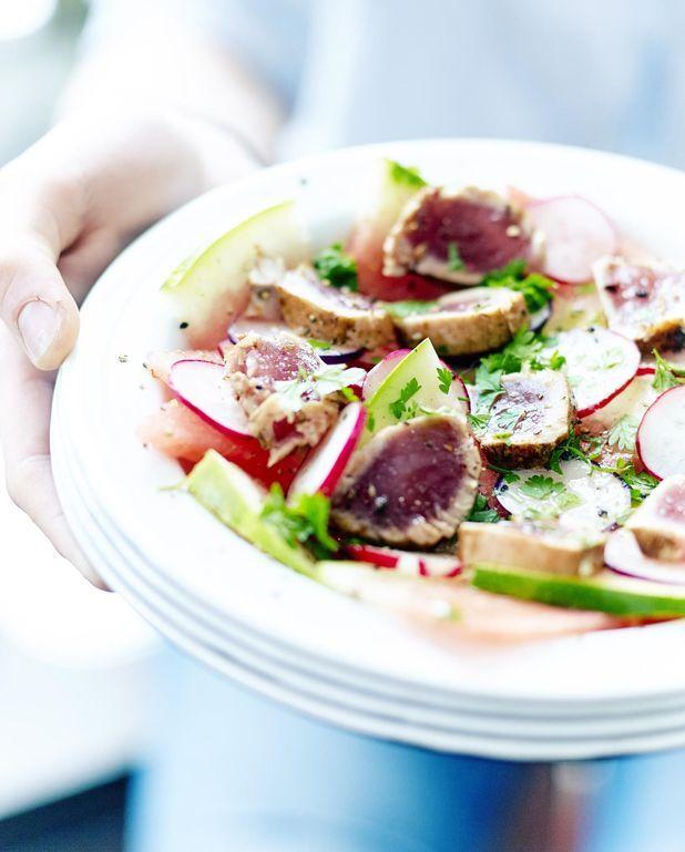 Salade de pastèque, tataki de thon
