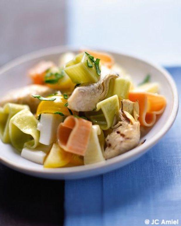 Salade de pâtes multicolores aux artichauts