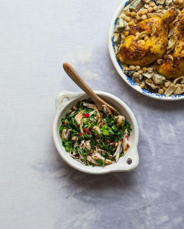 Salade de poulet aux herbes et framboises