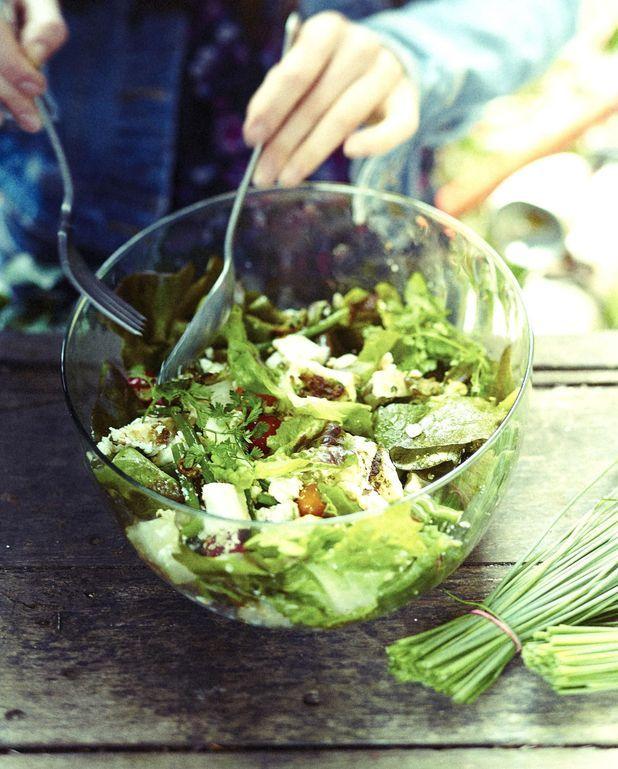 Salade folle toute verte au poulet