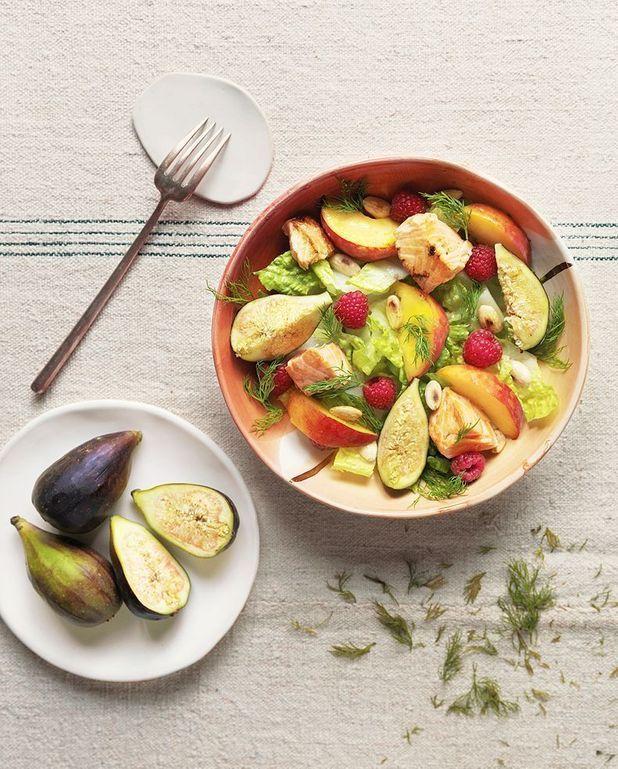 Salade pêches et saumon
