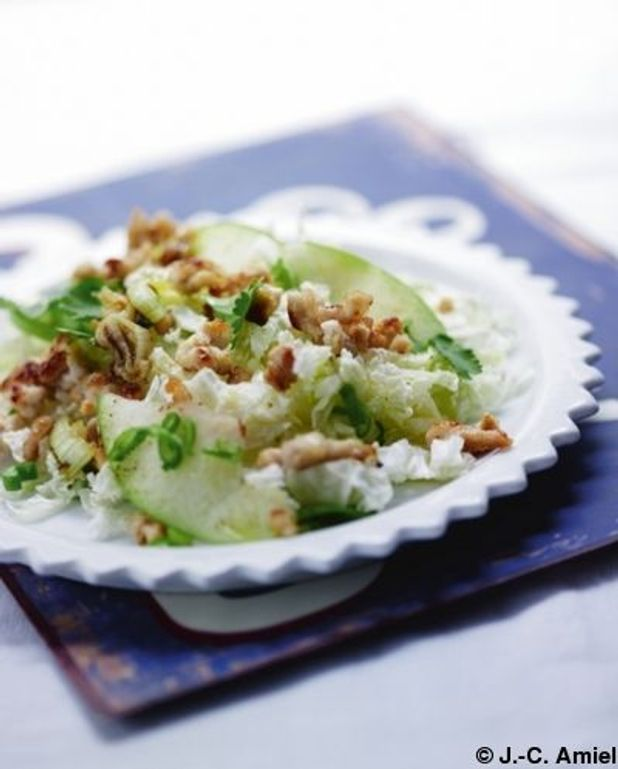 Salade tiède de porc aux huiles essentielles de basilic et de gingembre