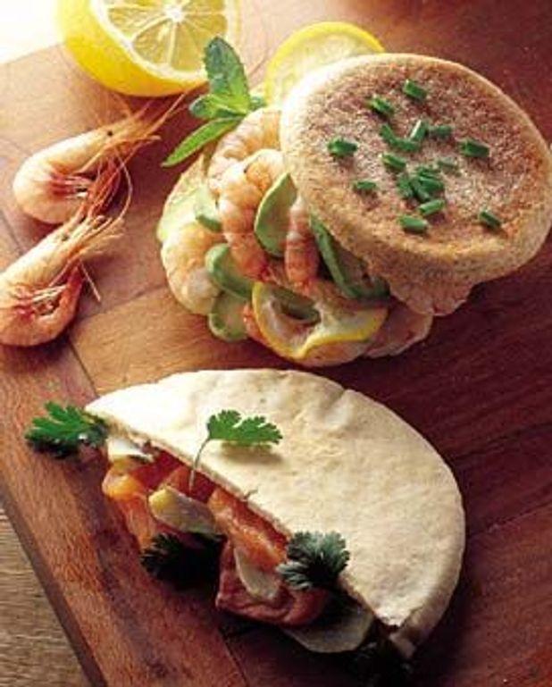 Sandwiches au saumon et aux crevettes