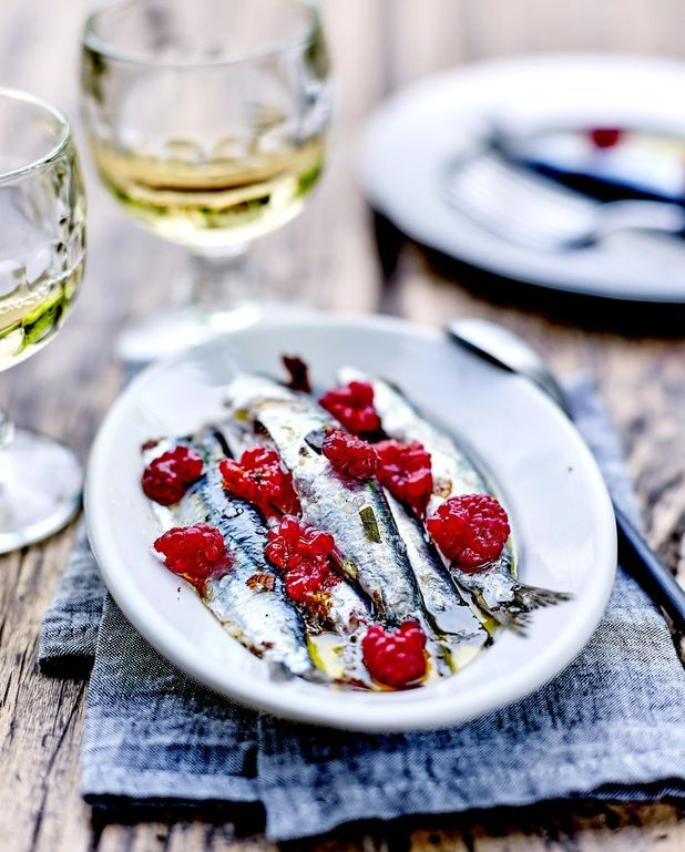 Sardines marinées et framboises